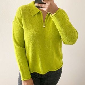 Express Chartreuse Zip-Up Pullover Collar Sweater